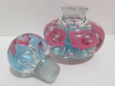 Vintage Perfume Bottle Paperweight Hand Blown Glass Trumpet Flowers & Bubbles