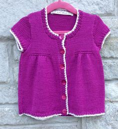 Knitted Tunic Top, Girls Knitted Top, Raspberry and White, Size Birth to 7 years, Ready To Ship