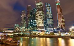 Download wallpapers Moscow, skyscrapers, city lights, Moscow City, Russia, night city, Moscow River