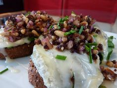 Amazing open faced goat cheese sandwich with a pine nut honey relish, set to uplifting funky tunes!