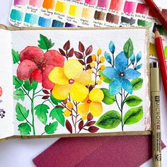 Bangalore has the perfect climate! There is so much activity here, an urban sketcher's paradise! I have been painting some scenes around… Illustration Blume, Botanical Illustration, Watercolour Painting, Watercolor Flowers, Watercolors, Botanical Drawings, Botanical Art, Floral Drawing, Floral Illustrations