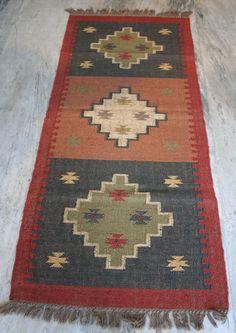 Vintage Afghan Kilim Area Rug Carpet, Runner 76x182cm Jute Wool Rug Yoga Mat #Unbranded #RagRugs