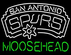 Moosehead San Antonio Spurs NBA Neon Beer Sign, Moosehead with NBA Neon Signs | Beer with Sports Signs. Makes a great gift. High impact, eye catching, real glass tube neon sign. In stock. Ships in 5 days or less. Brand New Indoor Neon Sign. Neon Tube thickness is 9MM. All Neon Signs have 1 year warranty and 0% breakage guarantee.
