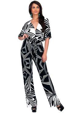711bcf53712 Koh Koh Womens Jumpsuit Kimono Sleeve Romper Playsuit Black White Xx-large