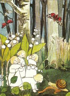 """Illustration from """"The Story of the Root-Children"""" (1906), by German children's book author Sibylle Von Olfers"""