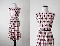 Harlequin Print 1950's | vintage 1960s harlequin dress by 1919vintage on Etsy