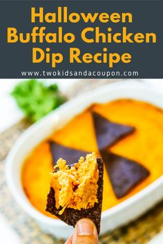 This easy Halloween Buffalo Chicken Dip recipe is perfect for parties or a haunted movie night at home. #Halloween #HalloweenFood #HalloweenParty #BuffaloDip #BuffaloChickenDip Easy Appetizer Recipes, Dip Recipes, Vegan Recipes Easy, Appetizers For Party, Snack Recipes, Fall Recipes, Delicious Recipes, Halloween Desserts, Easy Halloween