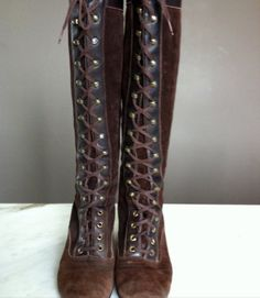 1970's Lace Up Granny boots