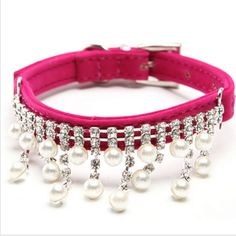 Fashion Luxury Female Pet Dog Collar Bling Rhinestone Pearl Necklace for Cats,Crystal Wedding Jewelry Accessories for Small Dogs Bling Dog Collars, Rhinestone Dog Collar, Kitten Collars, Cat Jewelry, Animal Jewelry, Beading Jewelry, Jewellery, Cat Necklace, Pearl Necklace