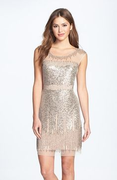 Adrianna Papell Illusion Yoke Beaded Sheath Dress at Nordstrom.com. Gold-burnished sequins and beads drip liquid shimmer down the sheer mesh overlay of a party-ready cocktail dress.