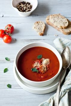 """The Best Roasted Tomato Soup With Tomato Parmesan Croutons By Helene from Tartelette A. """"The Best Tomato Soup You'll Ever Have"""" Best Soup Recipes, Tomato Soup Recipes, Vegetarian Recipes, Cooking Recipes, Favorite Recipes, Healthy Recipes, Healthy Soup, Yummy Recipes, Free Recipes"""