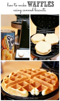 Semi-homemade breakfast ~ Best Idea Ever! Use canned biscuits in place of your r… Semi-homemade breakfast ~ Best Idea Ever! Grand Biscuit Recipes, Pillsbury Biscuit Recipes, Easy Biscuit Recipe, Recipe Using Canned Biscuits, Pillsbury Dough, Homemade Biscuits, Waffle Biscuits, Fried Biscuits, Breakfast Biscuits