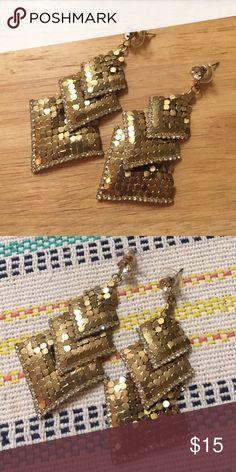 Gold and rhinestone chandelier earrings In great condition! Jewelry Earrings