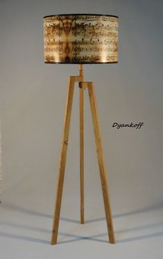 Handmade Tripod Floor lamp with unique wooden stand in natural light wood color,drum lampshade with Vintage music sheet print,model Zornitsa