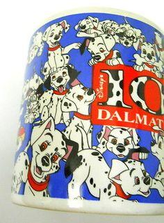 Vtg-Disney-101-Dalmatians-Ceramic-Coffee-Mug-Laughing-Growling-Strutting-Dogs