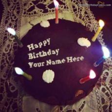 Write Name On Candles Birthday Cake Happy Birthday Cake Writing, Birthday Cake Write Name, Birthday Cake For Boyfriend, Friends Birthday Cake, Happy Birthday Cake Images, Happy Birthday Wallpaper, Happy Birthday Name, Cake Name, Birthday Cakes