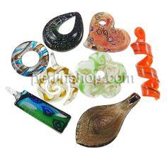 Silberfolie Lampwork Anhänger, Gemischte Form, handgemacht, Goldsand und Silberfolie, gemischte Farben, 18-76mm, Bohrung:ca. 3-16x32mm, 12Kä...
