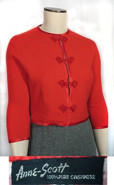 1950s Vintage Red Cashmere Cardigan Sweater with Asian Details