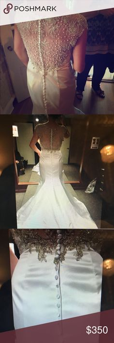 Allure bridal wedding dress! Pearl satin white wedding gown that has been altered. Beautiful back detailing! Has been dry cleaned. Has a few marks underneath the dress but can't been seen while wearing the dress. Could be hemmed off if desired. Allure Bridals Dresses Wedding
