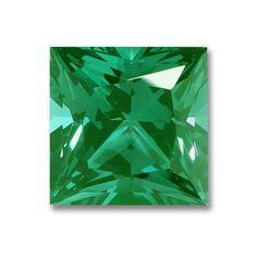 8x8mm Princess Cut Gem Quality Chatham-Created Cultured Emerald 1.98-2.42 Ct.
