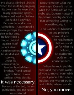 Incredible Captain America quote. (I think I've decided he's my favorite super hero...that's a big deal.)