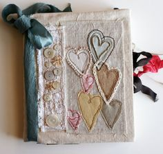 fabric journal cover by Rebecca Sower: Art Quilt Journal Hearts Handmade Journals, Handmade Books, Fabric Art, Fabric Crafts, Fabric Book Covers, Fabric Books, Fabric Journals, Art Journals, Textiles