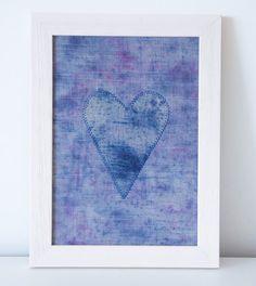 Textile Art Handdyed Heart Blue Pink Linen by Emma June Designs