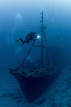 """Roland Bach - the wreck of the """"Santa"""" not far from the coast from the island Menorca."""