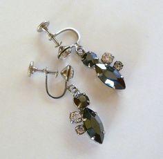 Vintage Dangling Earrings Black Iridescent by MaisonChantalMichael, $23.00
