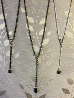 Gunmetal chain w/ chevron accents Photo Jewelry, Handmade Necklaces, Chevron, Arrow Necklace, Chain, Necklaces, Homemade Necklaces