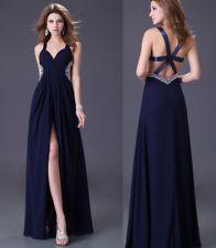 La Femme 20710 ~ sparkling lace bodice ~ long chiffon dress ~ side ...