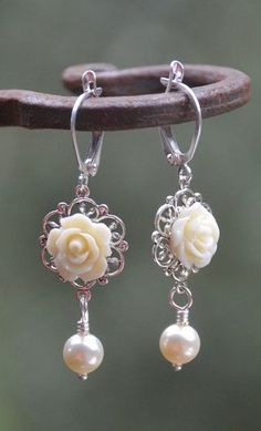 Romantic Ivory Rose and Ivory Swarovski Pearl