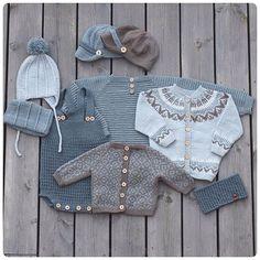Knit for boys. We are working on a new booklet. Guttestrikk-heftet jobbes iherdig med disse dager :) Vi kommer med dato for… Diy Crafts Knitting, Knitting For Kids, Baby Knitting Patterns, Baby Outfits, Kids Outfits, Baby Pullover, Knitted Baby Clothes, Baby Vest, Baby Sweaters