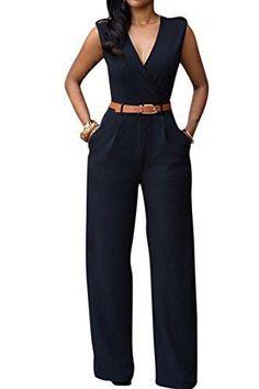 Pink Queen Women's Elegant V Neck Long Loose Belted Rompers Jumpsuits Black Large