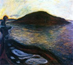 The Islan: Edvard Munch - 1900-1901. The experience of landscape was not as central to Munch's art as it was to the work of his contemporaries and in Scandinavian art history in general. Perhaps that has much to do with his long absences from Norway, living in the cosmopolitan and urban centers of Paris and Berlin during his formative years.