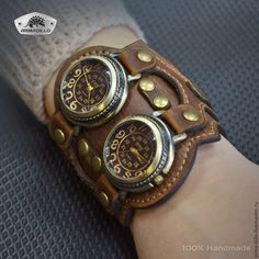 """Купить Часы """"Батискаф"""" - коричневый, часы наручные, подарок мужчине, кожаный браслет, Часы кварцевые"""