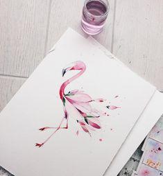 Эскиз для моего друга . Фламинго и цветение магнолии .