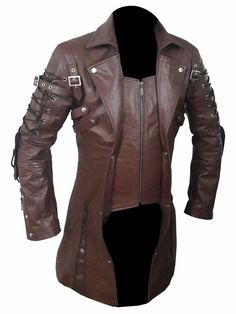 """Mens REAL Black Leather Goth Matrix Trench Coat Steampunk Gothic Van Helsing (T18). An All time classic Steampunk Soft Leather Coat. If your Actual Chest without clothing is 38"""" for example so order 2 sizes up, a 42"""". 