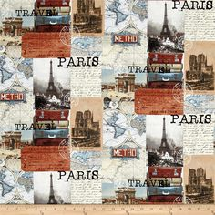 Destination Paris Collage Multi from @fabricdotcom  Designed by Whistler Studios for Windham, this cotton print fabric pays homage to one of the most cities in the world: Paris! Perfect for quilting, apparel and home decor accents. Colors include cream, black, shades of grey and brown, burnt orange, pale yellow and shades of blue.