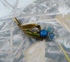 Vintage Bead Flower Brooch Shades of Blue and Green Vintage Flower Rhinestones & Beads Pin - PLUS Bonus!