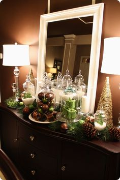 Pretty dining room Christmas vignette created w/$1 ornaments from Walmart