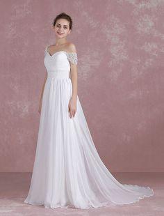 Chiffon Wedding Dress Sweetheart Off The Shoulder Beach Bridal Dress Beading Waist Cap Sleeve Chains A Line Bridal Gown With Court Train