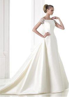 Junoesque Satin Bateau Neckline Natural Waistline A-line Wedding Dress