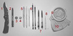 Drawing tools, blue tak, blending stumps, mechanical pencils, tortillons
