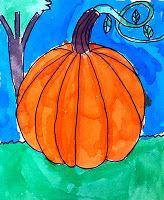 pumpkin...make tissue paper & starch pumpkin first then glue on watercolor background