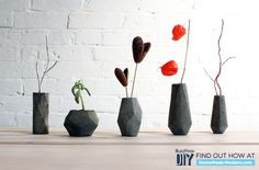 Some Ideas of Beautiful Flower Vases You Can Create Yourself: Captivating DIY Modern Concrete Geometric Vases ~ Treeinggear DIY Projects Inspiration Concrete Crafts, Concrete Projects, Concrete Planters, Diy Projects, Concrete Tools, Concrete Furniture, Concrete Blocks, Beton Design, Concrete Design