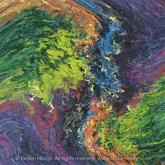 Kristan Hodge. Painting: Lost. Acrylic on canvas. Abstract, colorful, swirling, purple, blue, green, orange