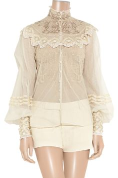 Therese embellished silk-tulle blouse