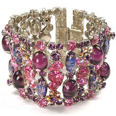 Vintage Pink Topaz Aurora and Amethyst Bracelet
