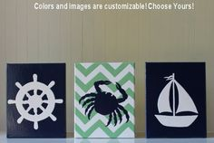 Nautical Nursery Decor Nautical Nursery Painting Ship's Wheel Crab Nursery Sailboat Nursery Chevron Navy Green Nautical Kid's Bathroom
